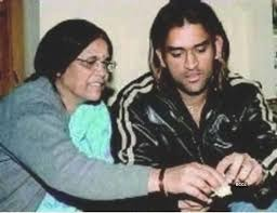 Mahendra Singh Dhoni with his mother