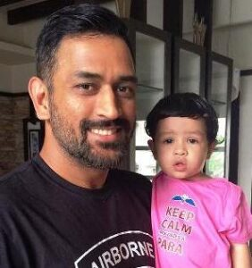 Mahendra Singh Dhoni with his daughter