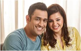Mahendra Singh Dhoni with his wife