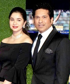 Sara Tendulkar with her father