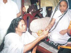 Mamata Banerjee with her mother