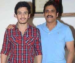 Akhil Akkineni with his father