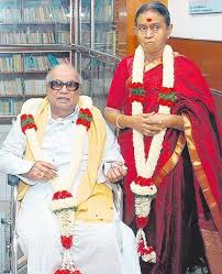 M. Karunanidhi with his wife Dayalu