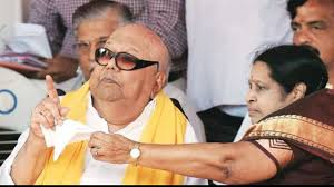 M. Karunanidhi with his wife Rajathi