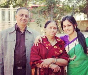Shubhangi Atre with her parents