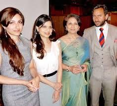 Saif Ali Khan with his mother & sister