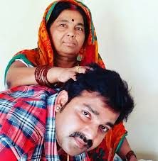 Pawan Singh with his wife mother
