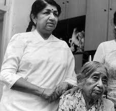 Lata Mangeshkar with her mother