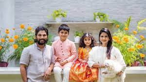 Sneha Reddy with her husband & kids