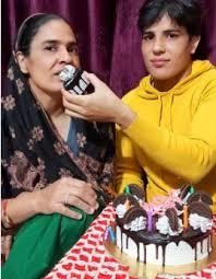 Seema Bisla with his mother