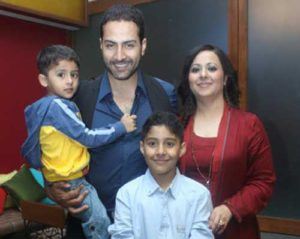 Sudhanshu Pandey with his wife & sons